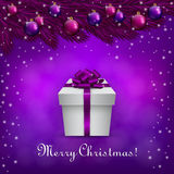 Purple christmas background with a present box. An editable vector illustration of Purple christmas background Royalty Free Stock Image