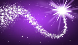 Purple christmas background. With shooting star stock illustration