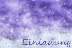 Purple Christmas Background, Snow, Snowflakes, Einladung Means Invitation Royalty Free Stock Photo