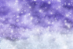 Purple Christmas Background With Snow, Snwoflakes, Stars Stock Images