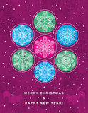 Purple christmas background with snowflakes Royalty Free Stock Image