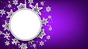 Purple Christmas background with snowflakes. Royalty Free Stock Photos