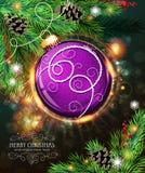 Purple Christmas ball Stock Photography