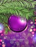 Purple Christmas ball Stock Images