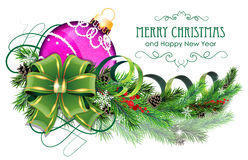 Purple Christmas ball with green bow and fir branches. Christmas ornaments with bow, ribbon and fir tree branches on white background Stock Image