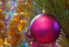 Purple Christmas ball ornament Royalty Free Stock Photography
