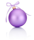 Purple Christmas ball with ribbon bow Isolated on white Royalty Free Stock Photo