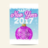 Purple christmas ball with silver snowflake happy 2017 new year. Purple christmas ball with silver snowflake on blue background. Happy New Year 2017. Glitter Royalty Free Stock Image