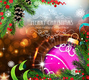 Purple Christmas ball with sparkles and fir branches. Abstract holiday background with sparkles, Christmas ornaments and fir branches Stock Image