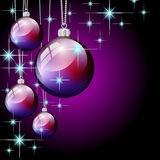 Purple christmas ball and stars. Background stock illustration