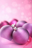 Purple christmas balls Stock Images
