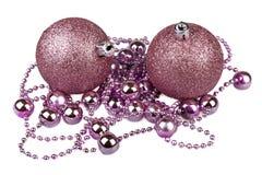 Purple Christmas balls Royalty Free Stock Images