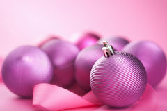 Purple christmas balls Royalty Free Stock Image