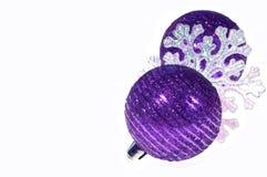 Purple Christmas balls. On white background Stock Photo