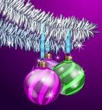 Purple Christmas Balls Royalty Free Stock Photography