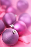 Purple christmas balls Stock Photos