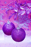 Purple Christmas balls Stock Photo