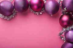 Purple christmas balls border Royalty Free Stock Photo