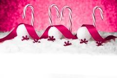 Purple christmas balls on snow Stock Photo