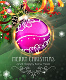 Purple Christmas bauble with fir branches and tinsel Royalty Free Stock Image