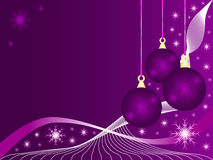 Purple Christmas Baubles. An abstract Christmas illustration with purple baubles on a lighter backdrop with snowflakes and room for text stock illustration