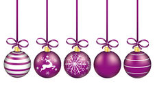 5 Purple Christmas Baubles Red Ribbons. 5 purple christmas baubles with ribbons on the white background stock illustration