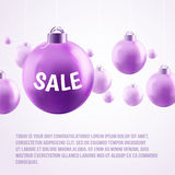 Purple Christmas baubles, sale. Christmas sale, purple Christmas baubles on light background. Vector illustration. Christmas balls with bows. Sparkles. Place for vector illustration