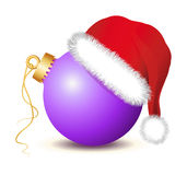 Purple Christmas baubles with Santa Claus Hat. Golden Christmas ball, Christmas ball , Christmas baubles, santa claus hat, red hat, red cap,   fir twigs Stock Images