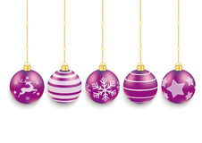 5 Purple Christmas Baubles White Background Stock Images