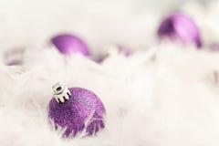 Purple Christmas Baubles Stock Photos