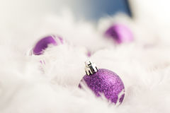 Purple Christmas Baubles. In white feather Royalty Free Stock Images