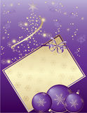 Purple Christmas card. And decorative balls, , illustration Royalty Free Stock Photo