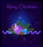 Purple Christmas card with baubles Royalty Free Stock Images