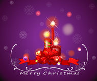 A purple christmas card with red lighted candles Stock Image