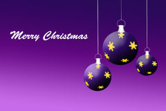 Purple Christmas Card. With stars Stock Photo