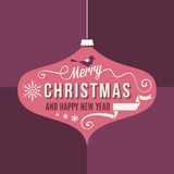 Purple Christmas Card with Stylized Ornaments Stock Image