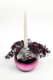 Purple Christmas decoration with candle Royalty Free Stock Photo
