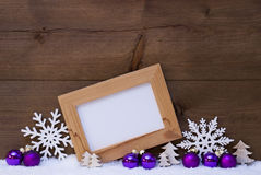 Purple Christmas Decoration, Copy Space, Snow Royalty Free Stock Images
