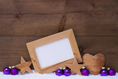 Purple Christmas Decoration With Copy Space, Snow Royalty Free Stock Image
