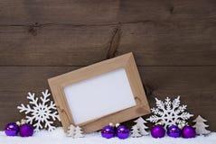 Purple Christmas Decoration, Copy Space, Snow, Snowflake Royalty Free Stock Image