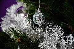 Christmas three. Purple Christmas decoration at home Royalty Free Stock Photos