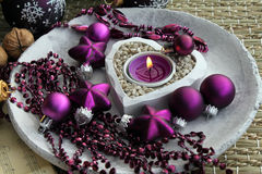 Purple christmas decorations Royalty Free Stock Image