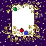 Purple Christmas frame Stock Images