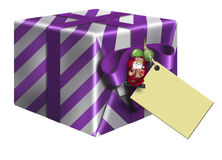 Purple Christmas Gift Box & Card Royalty Free Stock Image