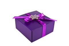 Purple Christmas gift box isolated Royalty Free Stock Images