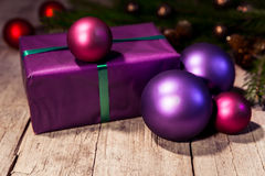 Purple christmas gift Stock Image