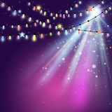 Purple Christmas Lights Background Stock Photos