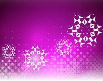 Purple Christmas lights and snowflakes Stock Image