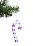 Purple Christmas lollipop toy on Christmas tree Stock Images
