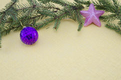 Purple Christmas ornament,pink star and a pine branch Royalty Free Stock Image